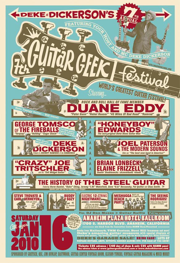 Deke Dickerson's Guitar Geeks Festival Poster