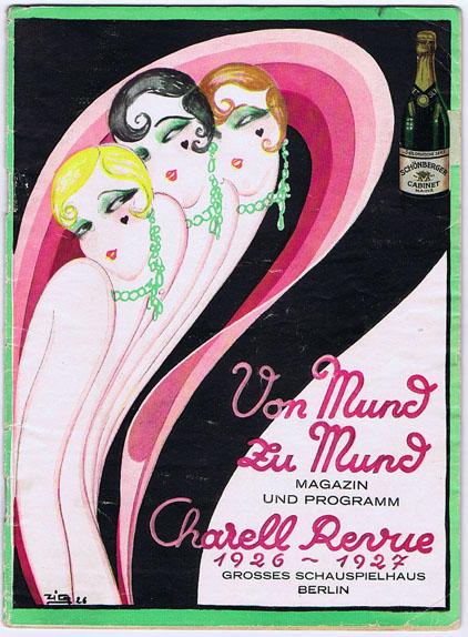 Unknown artist, 1926. Von Mund zu Mund. Charell-Revue in 16 Bildern, Grosses Schauspielhaus. http://www.miscman.com/posters_graphics/details.asp?ID=3771&CatID=95&PID=7&cp=3913&mp=0&mn=1