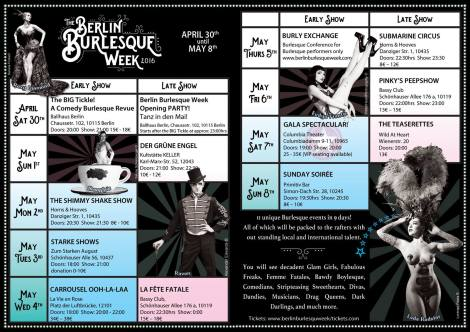 Programm Berlin Burlesque Week